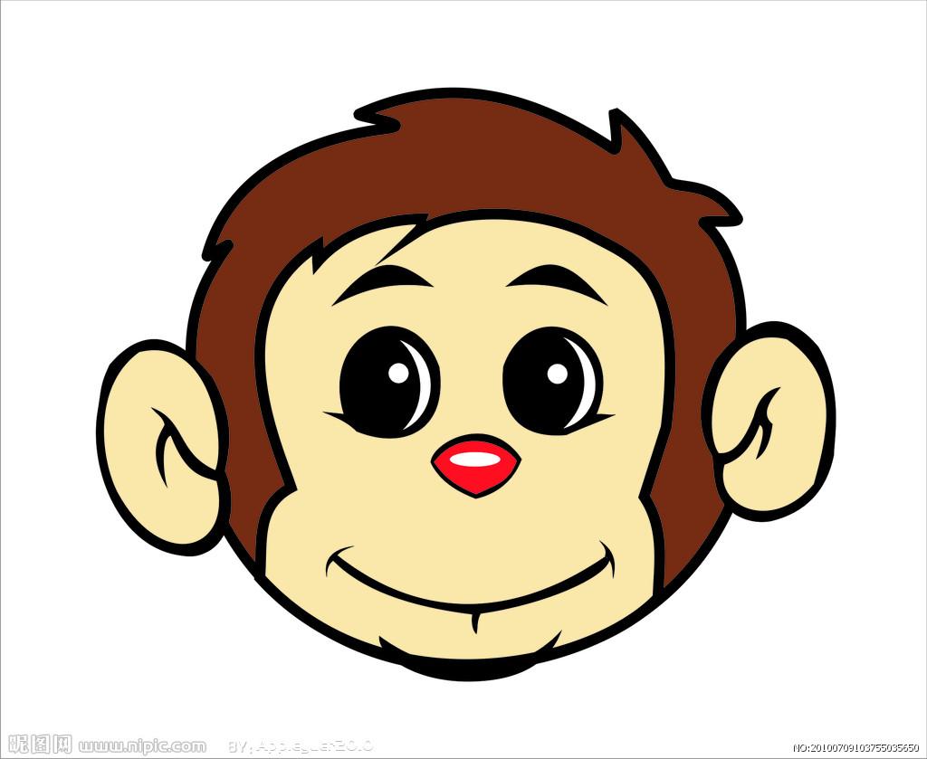 卡通猴头简笔画